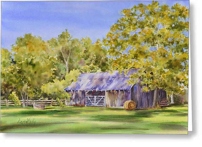 Haybales Greeting Cards - The Delaune Barn Greeting Card by Dana Mosby