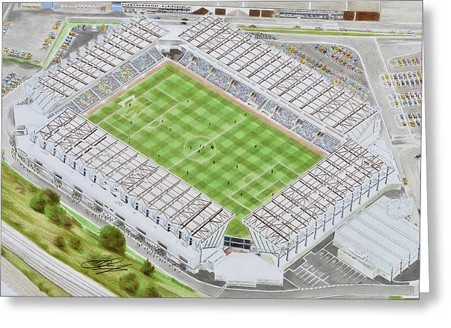 Lions Greeting Cards - The Den Stadia Art Greeting Card by Brian Casey