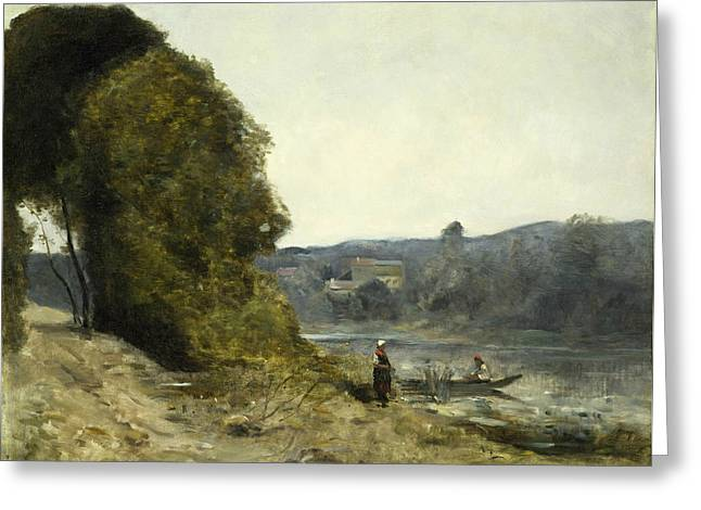 The Departure Of The Boatman Greeting Card by Jean-Baptiste-Camille Corot