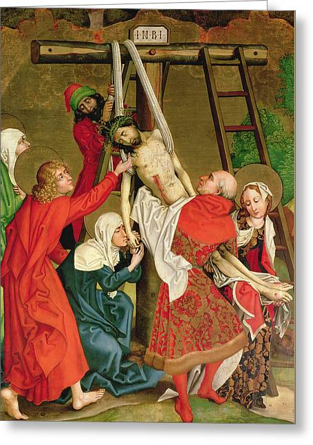 Martyrs Greeting Cards - The Deposition from the Altarpiece of the Dominicans Greeting Card by Martin Schongauer