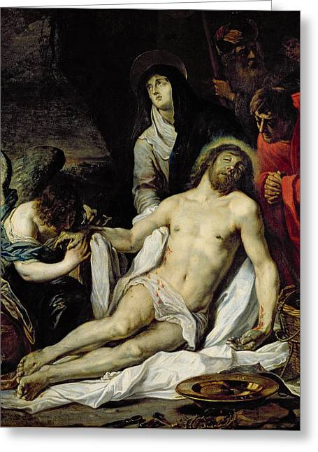 Worship God Paintings Greeting Cards - The Deposition Greeting Card by Pieter van Mol