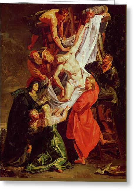 The Descent From The Cross Greeting Card by Ferdinand Victor Eugene Delacroix