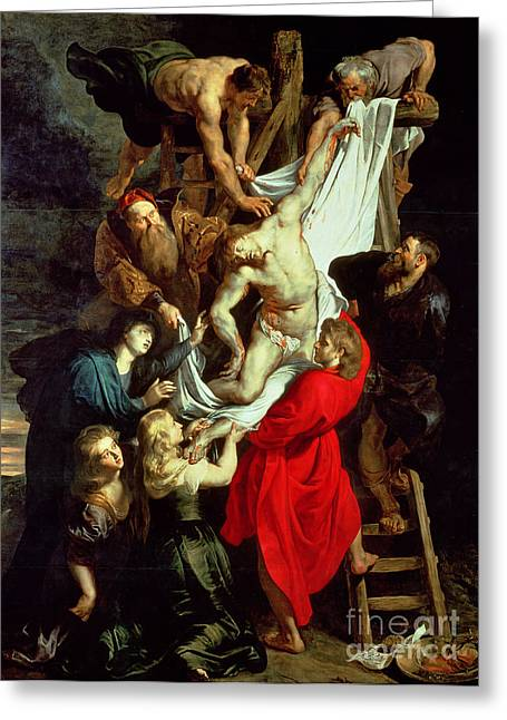 Peter Paul (1577-1640) Greeting Cards - The Descent from the Cross Greeting Card by Peter Paul Rubens