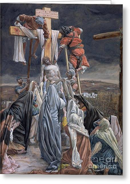 Christian Paintings Greeting Cards - The Descent from the Cross Greeting Card by Tissot