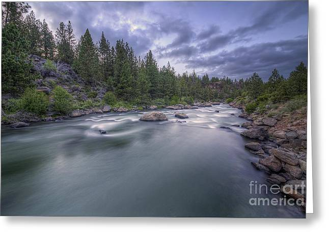 Deschutes River Greeting Cards - The Deschutes River at Dusk Greeting Card by Twenty Two North Photography