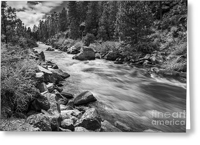The Deschutes River In Black And White Greeting Card by Twenty Two North Photography