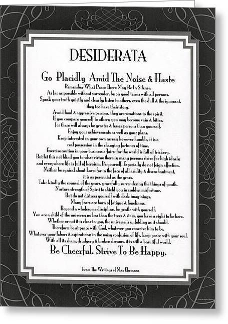 Motivational Poster Greeting Cards - The Desiderata Poem by Max Ehrmann Greeting Card by Desiderata Gallery