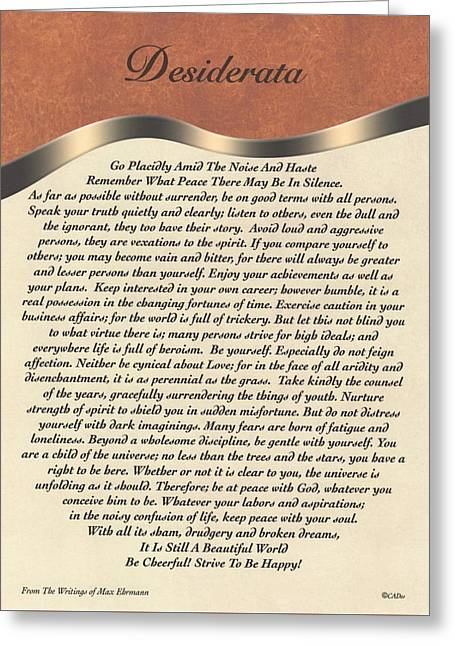 Motivational Poster Greeting Cards - The Desiderata Poem by Max Ehrmann. Masculine Greeting Card by Desiderata Gallery