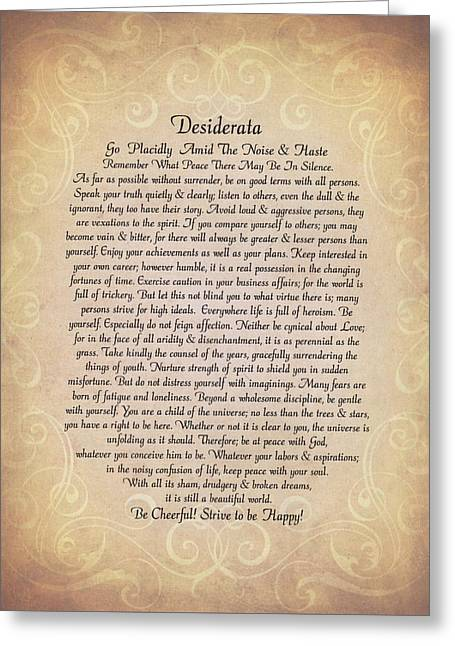 Motivational Poster Drawings Greeting Cards - The Desiderata Poem by Max Ehrmann on Antique Parchment Greeting Card by Desiderata Gallery