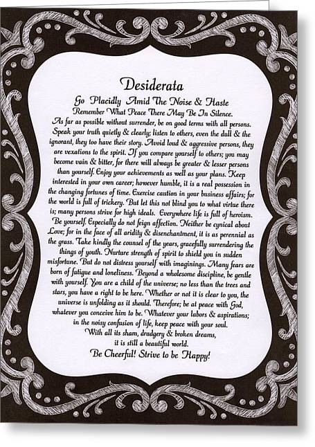 Motivational Poster Drawings Greeting Cards - The Desiderata Poem by Max Ehrmann on Chalkboard. Greeting Card by Desiderata Gallery