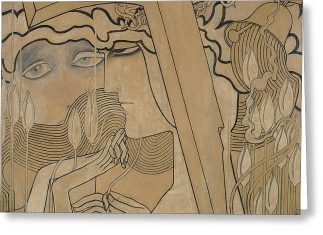 Female Faces Greeting Cards - The Desire and the Satisfaction Greeting Card by Jan Theodore Toorop