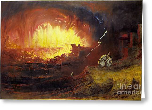 The Destruction Of Sodom And Gomorrah Greeting Card by MotionAge Designs
