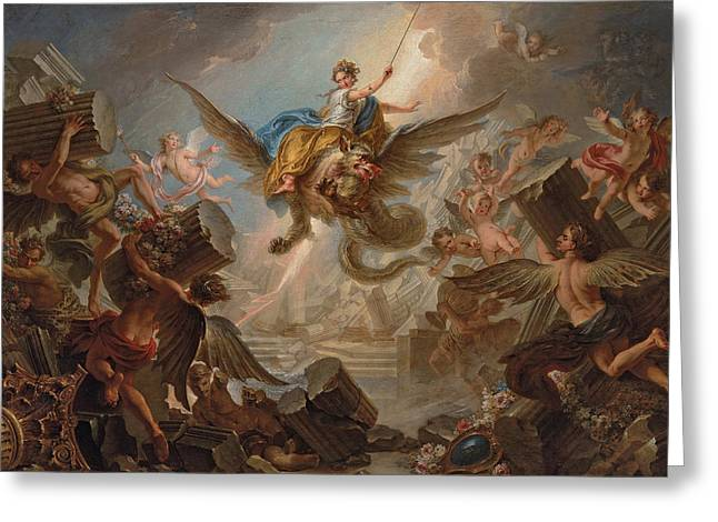 The Destruction Of The Palace Of Armida Greeting Card by Charles Antoine Coypel