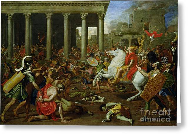 Destroyed Greeting Cards - The Destruction of the Temples in Jerusalem by Titus Greeting Card by Nicolas Poussin
