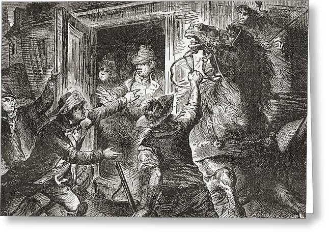 Detention Greeting Cards - The Detention Of Louis Xvi At Varennes Greeting Card by Ken Welsh