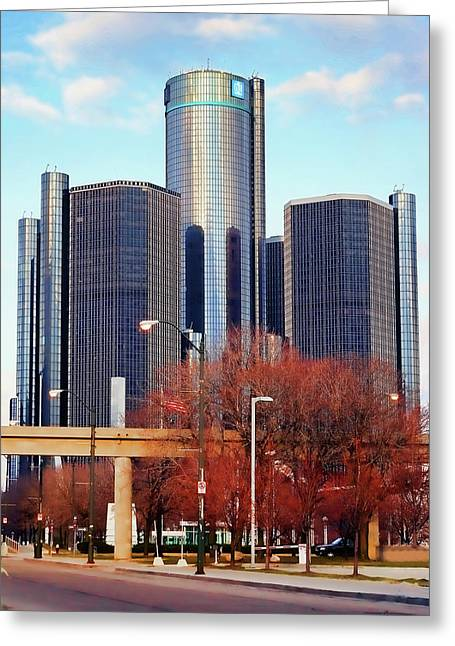 Harts Digital Greeting Cards - The Detroit Renaissance Center Greeting Card by Gordon Dean II
