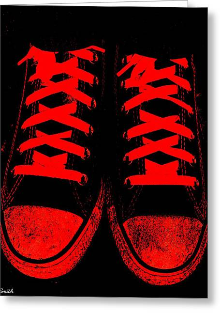 Jogging Greeting Cards - The Devil Wears Converse Greeting Card by Ed Smith