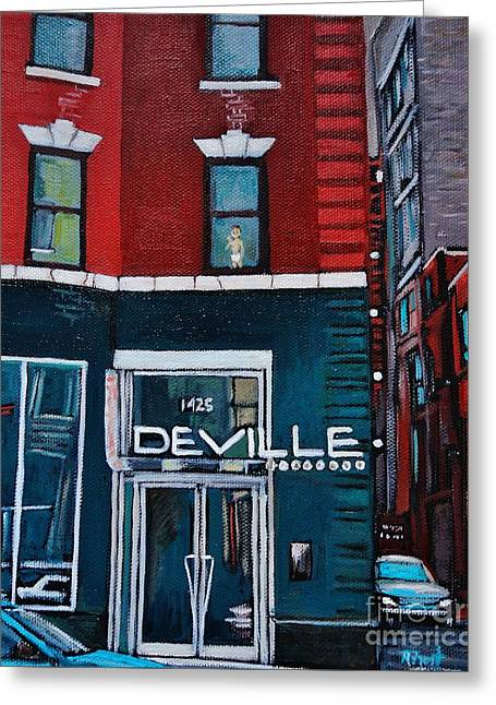 The Deville Greeting Card by Reb Frost
