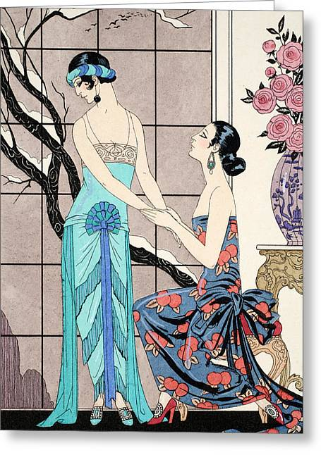 The Difficult Admission Greeting Card by Georges Barbier