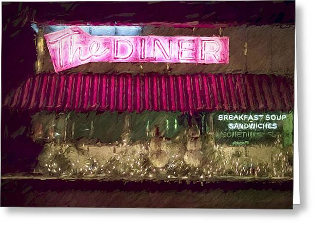 The Diner Omaha Old Market Greeting Card by Bobbi Anderson