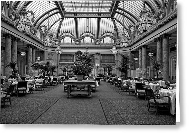 White Photographs Greeting Cards - The Dining Room Of The Palace Hotel Greeting Card by Mountain Dreams