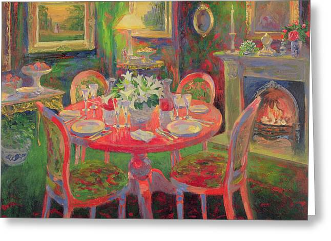 Interior Still Life Paintings Greeting Cards - The Dining Room Greeting Card by William Ireland