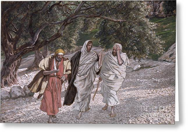 Bible Greeting Cards - The Disciples on the Road to Emmaus Greeting Card by Tissot