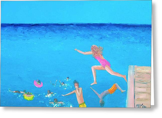 Kids Playing At Beach Greeting Cards - The Divers Greeting Card by Jan Matson