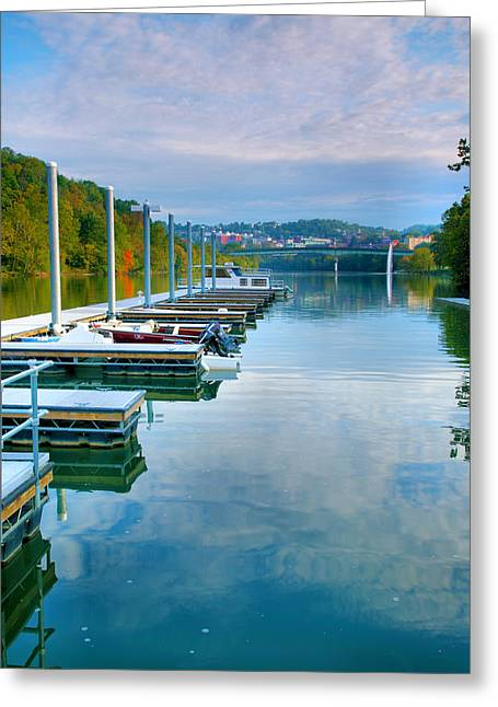 River Prints Greeting Cards - The Docks At Morgantown Greeting Card by Steven Ainsworth