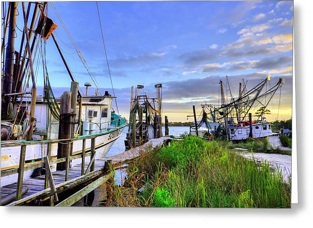 Docked Boats Greeting Cards - The Docks of Bon Secour Greeting Card by JC Findley