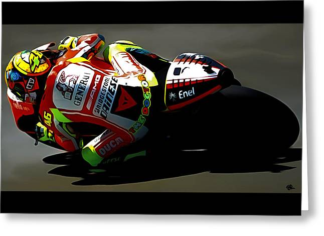 Rally Mixed Media Greeting Cards - The Doctor Valentino Rossi Greeting Card by Brian Reaves