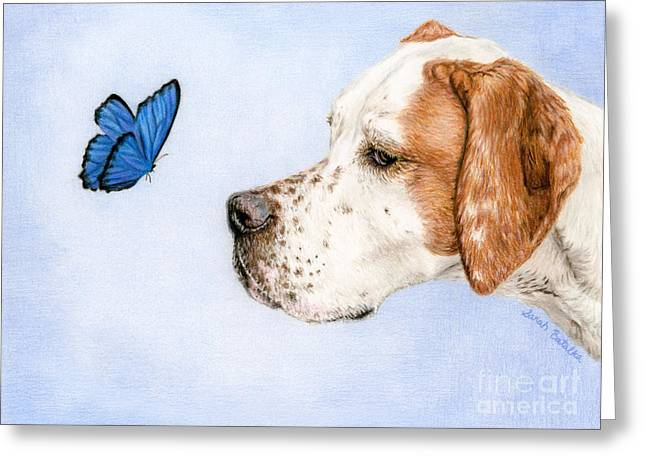 The Dog And The Butterfly Greeting Card by Sarah Batalka