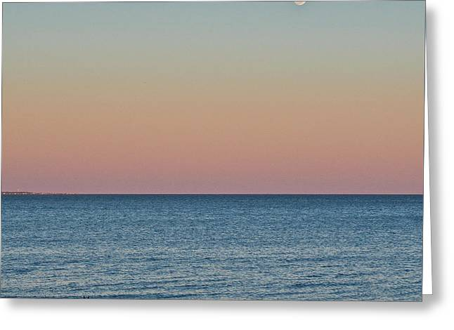 Sea Moon Full Moon Greeting Cards - Joshua and the Moon Greeting Card by Sandy Schepis