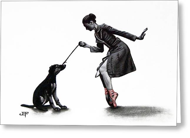 Ballet Dancers Drawings Greeting Cards - The Dog Walker Greeting Card by Jessica LaFree