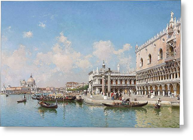 The Doge's Palace And Santa Maria Della Salute Greeting Card by Federico del Campo