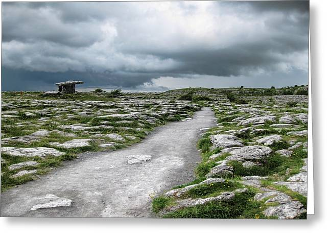 The Dolmen in the Burren Greeting Card by Menega Sabidussi