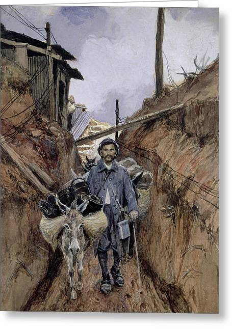 Trenches Paintings Greeting Cards - The Donkey Greeting Card by Francois Flameng