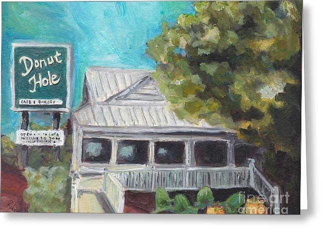Donuts Paintings Greeting Cards - The Donut Hole Greeting Card by Robin Wiesneth