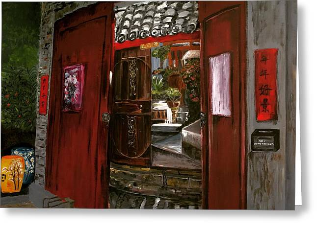 Entrance Door Greeting Cards - The Red Door Greeting Card by Belinda Low