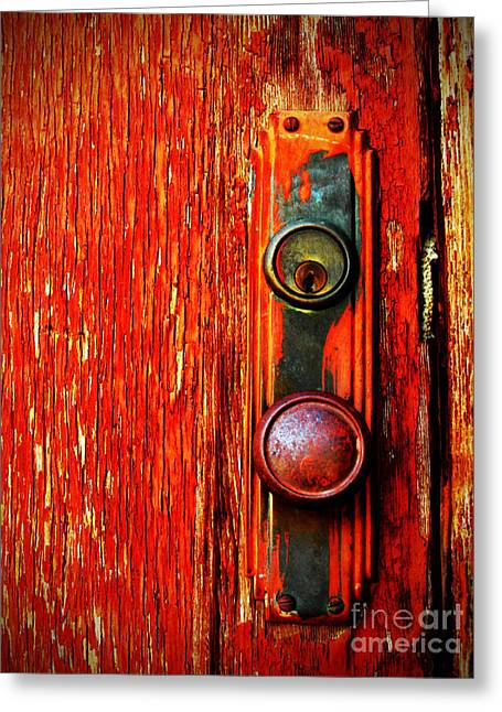 Red Doors Greeting Cards - The Door Handle  Greeting Card by Tara Turner