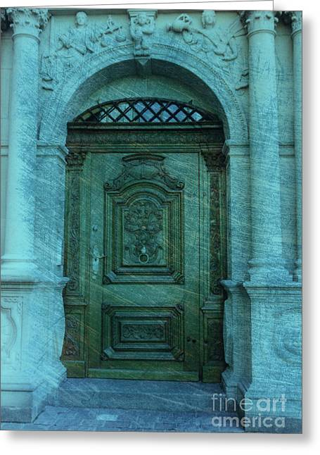 Lucerne Greeting Cards - The Door to The Secret Greeting Card by Susanne Van Hulst