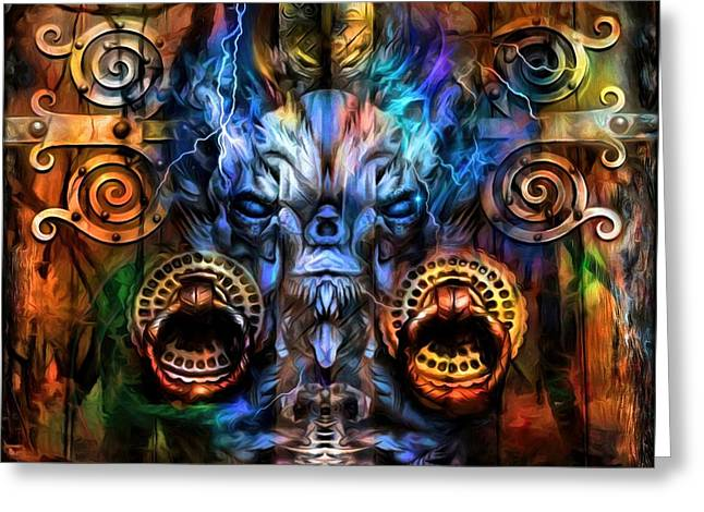 Old Digital Art Greeting Cards - The Doors Of The Ancient Forest  Greeting Card by Daniel  Arrhakis