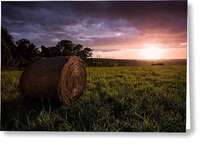 Hay Bales Greeting Cards - The Downs Greeting Card by Ian Hufton