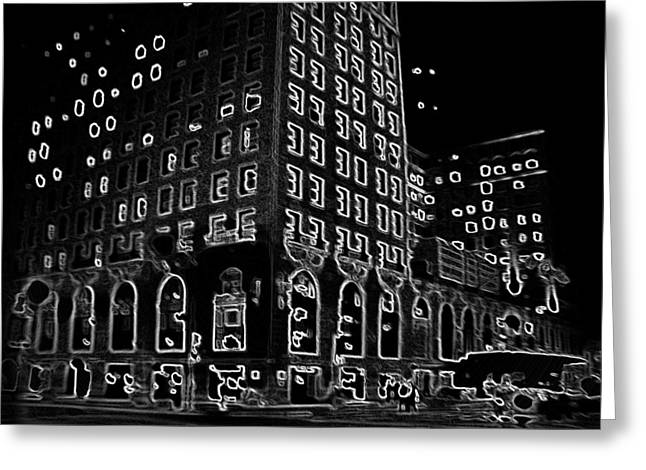 Magnificent Mile Digital Art Greeting Cards - The Drake Night Greeting Card by Kyle Hanson