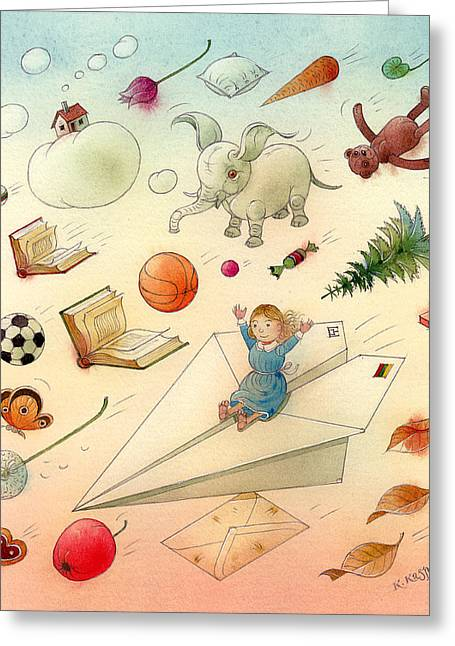 Dreams Drawings Greeting Cards - The Dream Greeting Card by Kestutis Kasparavicius