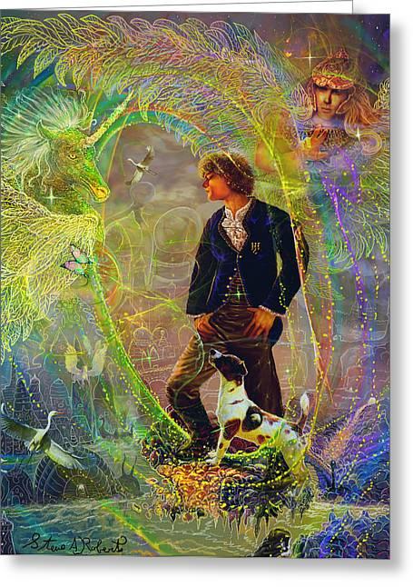 The Dreamer-angel Tarot Card Greeting Card by Steve Roberts