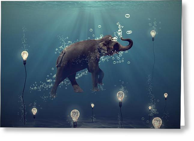 Lights Greeting Cards - The dreamer Greeting Card by Martine Roch