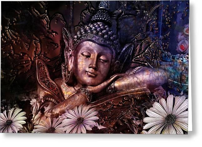 Mystic Art Greeting Cards - The Dreams Of Buddha Greeting Card by Daniel  Arrhakis