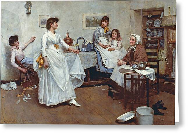 Bridal Gown Greeting Cards - The Dress Rehearsal Greeting Card by Albert Chevallier Tayler