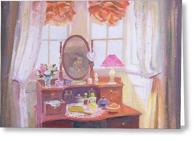 Mahogany Greeting Cards - The Dressing Table Greeting Card by William Ireland